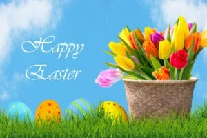 easter eggs and flowers background 300x200 - Special Office Hours on Good Friday, April 14, 2017
